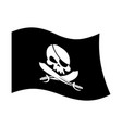 Pirate flag skull and crossbones piratical black vector image