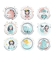 Fairy Tale Heroes Girly Stickers In Round Frames vector image vector image