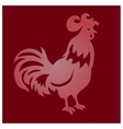 Cut paper rooster on red background vector image vector image
