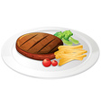 Steak and fries on the plate vector image