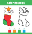 coloring page with christmas sock with gifts vector image