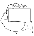 man hand holding a card on white background vector image
