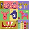 set elements of Sweden vector image