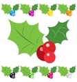 Set of holly berry sprig icons isolated on white vector image