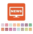 The tv news icon Television and telly vector image