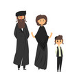 traditional jewish family with son vector image