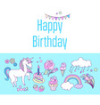 unicorn holiday card with cake sweets flower vector image