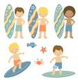 Surfing boys vector image vector image