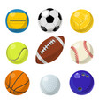 sport equipment different balls in cartoon style vector image