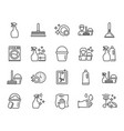 cleaning line icons laundry sponge and vacuum vector image