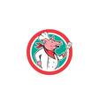 Pig Chef Cook Holding Spatula Circle Cartoon vector image