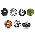 Cartoon hockey puck and sporting balls mascots vector image vector image