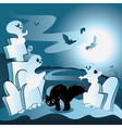 Cartoon Cemetery with Ghosts vector image