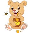 Cartoon funny baby bear holding honey pot isolated vector image