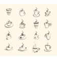 Cup of hot drink coffee tea etc big set vector image