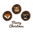 cartoon animals icon set Merry Christmas vector image