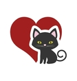 cat nose funny animal red heart vector image