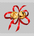 christmas decoration golden bell balls on red vector image