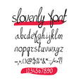 handwritten brush alphabet on white background vector image