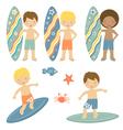 Surfing boys vector image