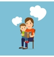 Mother and child reading book vector image