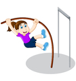 funny girl cartoon playing high jump vector image