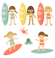 Surfing girls vector image vector image