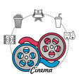 reel scene and filmstrip with short film icons vector image