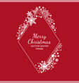 White rhombus snowflake frame red background vector image