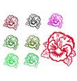 grunge flower stamps vector image vector image