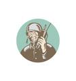 World War Two Soldier American Talk Radio Circle vector image vector image