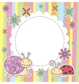 card with snail and ladybug vector image vector image