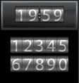 Number set from 1 to 9 digital clock dark vector image