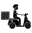 courier in motorcycle delivery service vector image