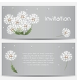 Invitation card with dandelions on grey background vector image