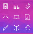 media outline icons set collection of speaker vector image