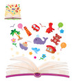 open book and the knowledge that it contains vector image