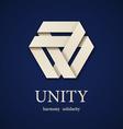 unity paper triangle icon design template vector image