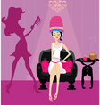 elegant girl in a beauty salon reading the vector image