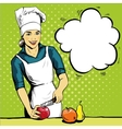 Beautiful woman cooking in vector image vector image
