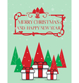 Gift box with christmas tree over Green background vector image
