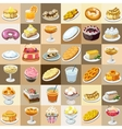 Great set of candys cakes and other sweets vector image