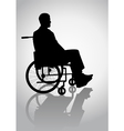Silhouette of a person on a wheelchair vector image