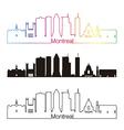 Montreal V2 skyline linear style with rainbow vector image