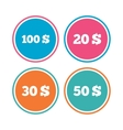 Money in Dollars icons Hundred fifty USD vector image
