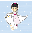 Girl flying with a dove vector image vector image