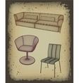 Furniture set for design in grunge frame vector image