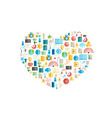Heart social network with media icons background vector image