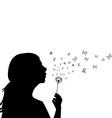 Girl blowing on dandelion vector image