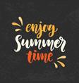 enjoy summer time phrase vector image